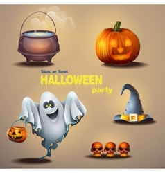 Set of different items for the holiday Halloween vector image vector image