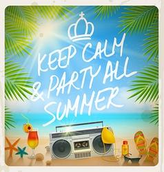 Tropical beach summer party - vintage design vector image vector image