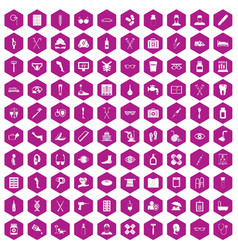 100 disabled healthcare icons hexagon violet vector image