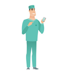 caucasian doctor holding a mobile phone vector image vector image
