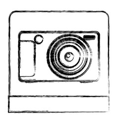 monochrome sketch of digital photo camera in vector image vector image