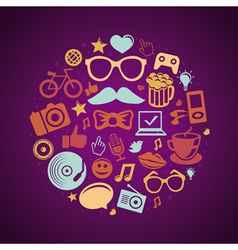 round concept with trendy hipster icons and signs vector image vector image
