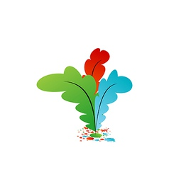 Set colourful artistic feathers with ink vector