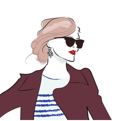 stylish hand drawn girl in sunglasses fashion vector image
