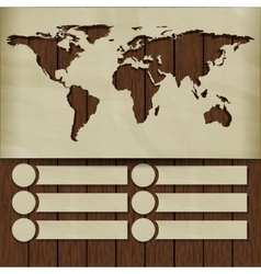 background world map carved in the paper on wooden vector image