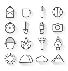 Camping Monochrome Linear Icons Set vector image vector image