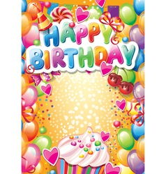 Template for Happy birthday card with place for vector image vector image