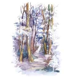 Watercolor winter forest with trees vector image vector image