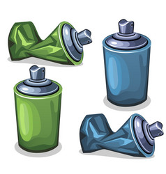 blue and green tube spray full and empty crumpled vector image vector image