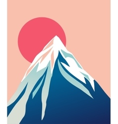 Blue mountain with snowy peak Sun vector image