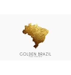 Brazil map Golden Brazil logo Creative Brazil vector image vector image