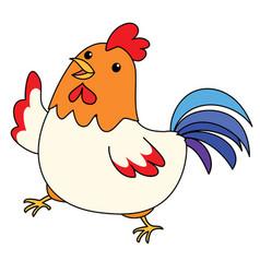 cute colorful chicken take a walk vector image vector image