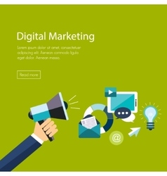 Digital marketing flat Hand with speaker and vector image