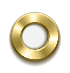 Gold donut button template with metal texture vector image vector image