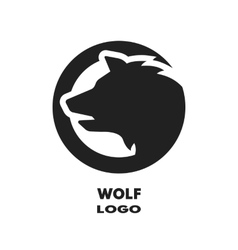 Silhouette of the wolf monochrome logo vector image