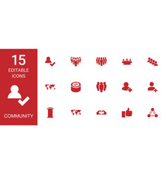 15 community icons vector image