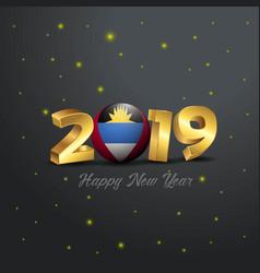 2019 happy new year antigua and barbuda flag vector