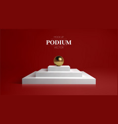 3d white podium on soft red background stage vector