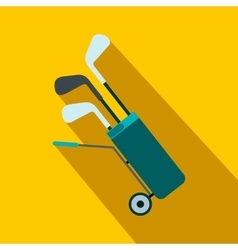 A wheeled golf bag full of golf clubs flat icon vector
