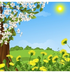 Abstract background with a blossoming tree vector