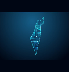Abstract futuristic map israel palestine vector