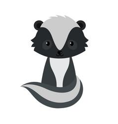 Adorable cartoon sitting skunk vector