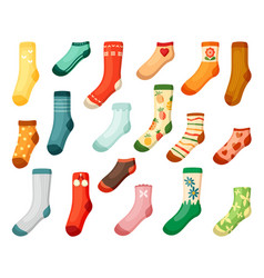 adults and kids colored socks set warm green vector image