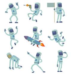 Alien character astronaut in space working vector