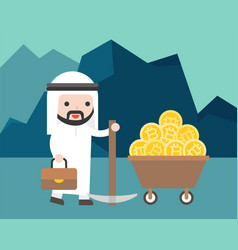 arab businessman hold a pickaxe with bitcoin in vector image