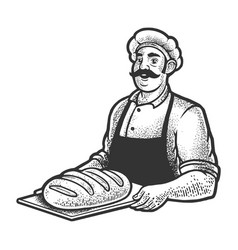baker with bread sketch vector image