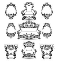 Baroque furniture rich set royal ornamented vector