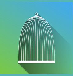 Bird cage sign white icon with gray dropped vector
