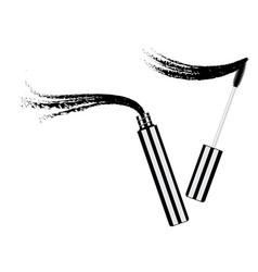 Black mascara brush with smear vector