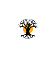 black tree isolated logo organic cosmetic vector image