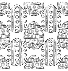 black white seamless pattern of decorative eggs vector image