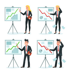 businessman and businesswoman making presentation vector image