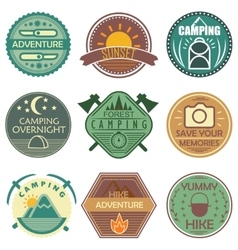 Camping Colored Emblems vector
