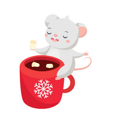 Cartoon mouse cute rat sit on cup wit hot cocoa vector