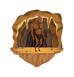cave interior scene with minotaur greek vector image