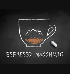 Chalk drawn sketch espresso macchiato vector