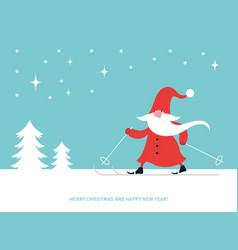 christmas card with cute gnome ski happy new year vector image