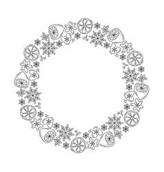 christmas monoline wreath with lemon vector image