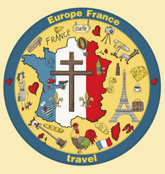 Color travel 3 to europe france symbols and vector
