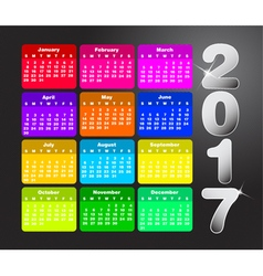 Colorful calendar for 2017 Week starts on sunday vector