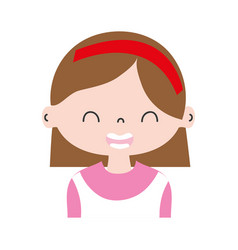Colorful smile girl with hairstyle and headband vector