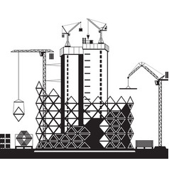Construction of high rise buildings vector