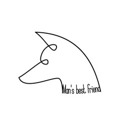 Continuous line dog head with typographic collar vector