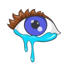 Crying eyes icon cartoon style vector image