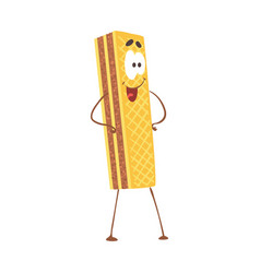 cute cartoon waffle with smiley face funny fast vector image