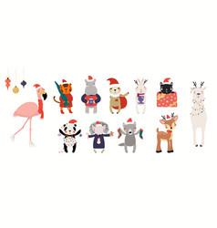 Cute christmas animals set vector